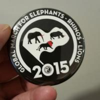 march for elephants rhinos lions custom button